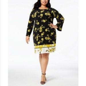 Alfani Gold Orchard A-Line Dress Plus Size 18W
